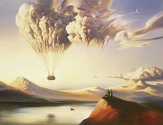 cloud shapes hot air balloon surrealist painting art