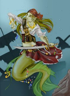 Pirate mermaid by missarsenia.deviantart.com on @deviantART