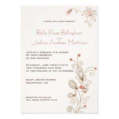 Mauve Floral Swirls Wedding Invitation | Cashmere Rose Wedding | Vintage, Modern Line