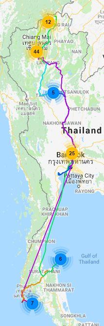 thailand, itinerary, winter, chiang mai, chiang rai, ayutthaya, sukhothai, phuket, surat thani, koh pangan, bangkok, thai, land, elephants, temples, beach, bus,  train
