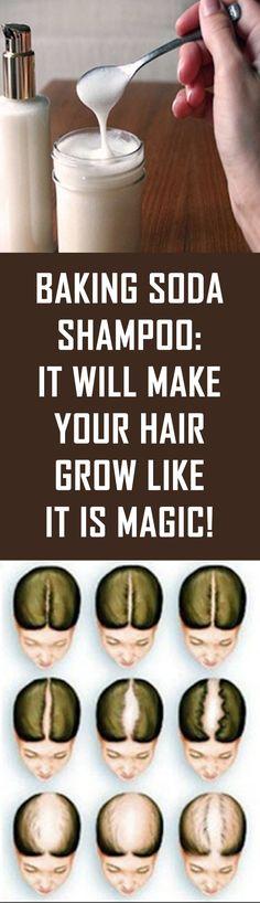 Natural Hair Care, Natural Hair Styles, Natural Beauty, Natural Shampoo, Natural Oils, Natural Makeup, Make Hair Grow, Baking Soda Shampoo, Baking Soda On Hair