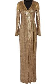 Ariel Armour sequined stretch-jersey wrap gown