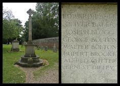The poet Rupert Brooke is amongst those remembered. The memorial is in the churchyard at St Andrew and St Mary Church.