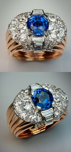 *A Vintage Art Deco Ceylon Sapphire and Diamond Ring circa 1930 The platinum and 18K gold ring is centered with an oval unheated 5.06 ct Ceylon sapphire of a rich cornflower blue color surrounded by baguette, old European, old cushion and old single cut diamonds. Estimated total diamond weight - 2.50 ct Marked with French owl-shaped gold import mark.