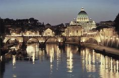 San Pietro Tiber St Peter Rome italy world cities architecture building cathedrals church buildings bridges rivers water reflection glisten shine night lights sky scenic bright wallpaper background Montmartre Paris, Rome City, Vatican City, Rome Travel, Italy Travel, Monuments, Paris France, Rome Hotels, Water Reflections