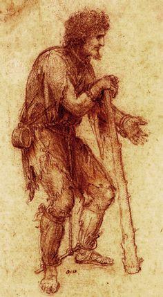 Leonard De Vinci - Renaissance - Drawing - Prisoner.