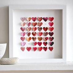 Deko Ideen Valentinstag Herzen in bilderrahmen kleben