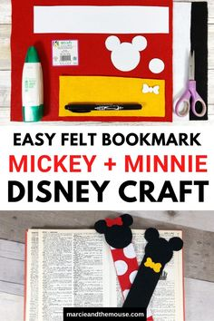 Disney Bookmarks: Mickey and Minnie Felt Craft Disney Crafts For Kids, Summer Activities For Kids, Disney Diy, Craft Activities, Disney Magic, Felt Bookmark, Bookmark Craft, Disney Bookmarks, Felt Bows