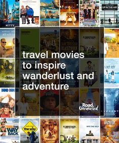 Whether it's a road trip movie or a movie that showcases the beauty of far off lands, we hope this list of travel movies will help to inspire wanderlust. Road Trip Movie, Travel Movies, Travel Scrapbook, Travel Gifts, Travel Quotes, Budget Travel, Travel Around The World, Traveling By Yourself, Travel Inspiration
