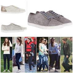 Kate's Mint Velvet 'Bibi' Plimsols. These are some of Kate's most well worn casual pairs of shoes made from suede leather with grey laces. The company no longer stock the 'Bibi' pair Kate owns, however they do have two similar styles available for £89 / $126. The first one (top left) is the 'Emily' flat lace up and the one below is the 'Ester' plimsol in champagne.