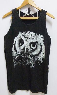 Face baby owl species bird Black Unisex women men teen Stone washed Tank top size M/L bleached sleeveless singlet tshirt