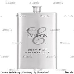 Custom Bridal Party   Chic Script Wedding Keepsake Hip Flask Groomsmen Gifts Unique, Groomsman Gifts, Subtle Highlights, Wedding Keepsakes, Father Of The Bride, Love Messages, Maid Of Honor, Bridesmaid Gifts, Flask
