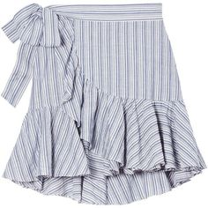 Yarn-Dyed Striped Skirt (215 BRL) ❤ liked on Polyvore featuring skirts, bottoms, striped skirts, frilly skirt, flounce skirt, flouncy skirt and ruffle skirt