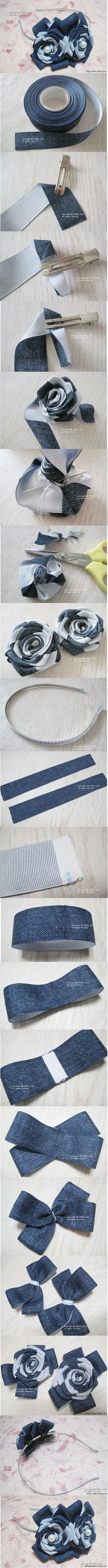 DIY Herringbone Ribbon Roses DIY Projects | UsefulDIY.com Follow Us on Facebook --> https://www.facebook.com/UsefulDiy: