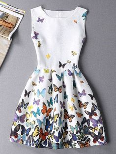 $11.18 Stylish Sleeveless Round Neck Butterfly Print Mini Dress For Women