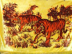 Velvet Bedspread. Tablecloth. King bedspread,Tapestry.Tigers .Cotton  carpet.Tigers decor. Vintage  Cotton 100% Wall mat.Vintage tablecloth.