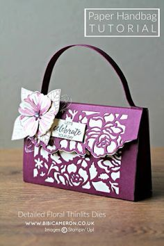 Detailed Floral Thinlits Dies Stampin Up. Paper purse by Bibi Cameron Homemade Gift Bags, Handbag Tutorial, Fun Fold Cards, Card Tutorials, Stampin Up Cards, Cardmaking, Paper Crafts, Scotland Uk, Gifts