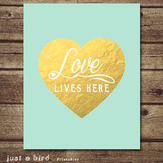 Mint green wall decor Mint green nursery decor, gold valentine, Love lives here
