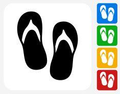 Sandals Icon Flat Graphic Design vector art illustration