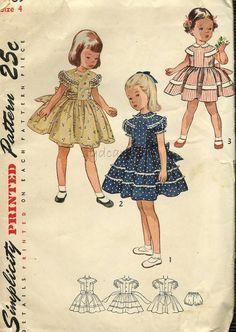 Vintage 1950s Girls Pattern T Shaped Yoke Back Buttoned Full Skirt Dress and Panties 1951 Simplicity 3469 Size 4 UNCUT