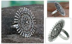 Sterling silver cocktail ring - India Sunflower   NOVICA 49