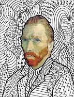 Van Gogh FREE Head Template - Vincent Van Gogh is famous for painting with a thick heavy texture. One way for students the appreciate all the visual movement this created is to imitate the look just using lines. You can download my Van Gogh head template HERE, which includes a finished version of the painting on page two for reference.