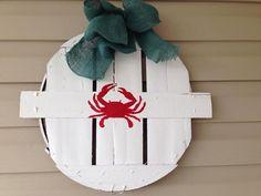 Eastern Shore Hand Painted Crab Bushel Basket Wreath by Shoregoose