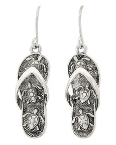 "Silver tone flip flop earrings with Turtle design. 1 1/2"" drop"