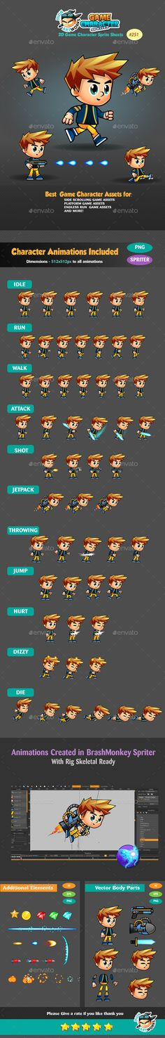 2D Game Character Sprites 251 — Vector EPS #mobile #pack • Available here → https://graphicriver.net/item/2d-game-character-sprites-251/17521255?ref=pxcr