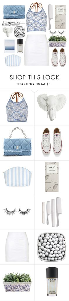 """""""The White and The Blues"""" by karineminzonwilson ❤ liked on Polyvore featuring River Island, Salvatore Ferragamo, Converse, Topshop, MAC Cosmetics, Summer, white and Blue"""