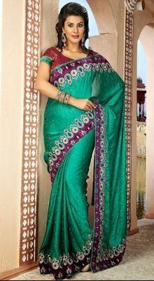 Gleaming Jade Green Embroidered Saree