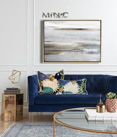 Blue And Gold Living Room, Blue Couch Living Room, Living Room Art, Living Room Designs, Living Room Color Schemes, Coastal Wall Art, Bedroom Art, Room Colors, Wall Art Decor
