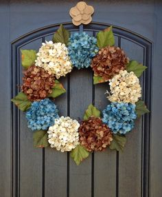 Spring Wreath Summer Wreath Grapevine Door Wreath Decor Brown Turquoise Cream Hydrangea by AnExtraordinaryGift on Etsy