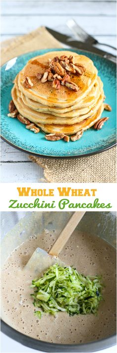 Whole Wheat Zucchini Pancakes...124 calories and 3 Weight Watchers PP for 3 tasty bites a couple of these fiber-filled pancakes! | cookincanuck.com #healthy #recipe