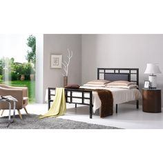 Twin-Size Metal Bed Frame with Pu Leather Panel Headboard in Black