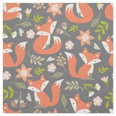 Cute Fox and Rustic Floral Fabric - animal gift ideas animals and pets diy customize