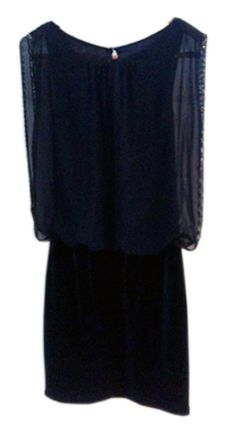 Sexy cocktail dress by Cache: features a blouson acrylic top with a fitted velvet bottom, gemstone detailing on the sleeve cuffs, and a keyhole and zipper closure. Modest but sexy!