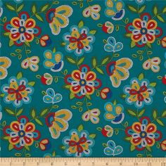 Tucson Beaded Floral Turquoise from @fabricdotcom  From Elizabeth's Studio, this cotton print is perfect for quilting, apparel and home decor accents.  Colors include turquoise, aqua, blue, white, black, red, yellow and shades of green.