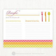 Printable Recipe Card Blank 4x6 for Bridal Shower by AmeliyCom, $7.00