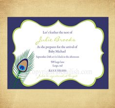 Personalized Baby Peacock Chic Modern Baby Shower by Detailish, $14.00