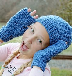 Slouchy Beanie and Fingerless Gloves for Kids Knitted Hat and