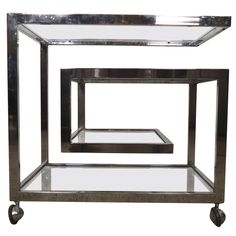 Milo Baughman Greek Key Style Bar Cart | From a unique collection of antique and modern carts at https://www.1stdibs.com/furniture/more-furniture-collectibles/carts/
