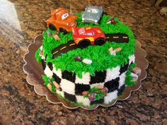 Almond flavored Cars cake. All buttercream.