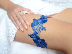 Royale Blue Lace Wedding Garter Set Bridal by BridalSpecialDay