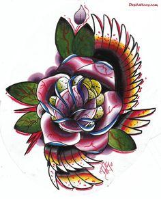 elegant traditional rose tattoo   Traditional Tattoos