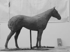 Clay for bronze resin #sculpture by #sculptor Ellen Christiansen titled: 'Stone of Folca I (Bronze Champion Race Horse statue)'. #EllenChristiansen