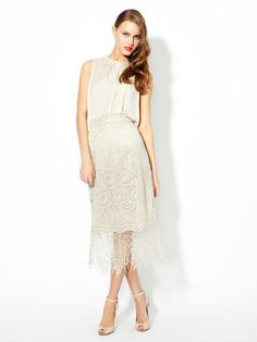how amazing is this Alice & Olivia dress?! metal fring, style pinboard, lace skirt, olivia dress, fring lace