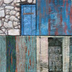 An arrangement of 4 pieces based on distressed doors using a variety of techniques including painting with acrylics and photo transfer. Size: 60 x 60 cm Date: 2009 Furniture Projects, Wood Projects, Distressed Doors, Door Design Interior, Office Themes, Painted Front Doors, Reclaimed Furniture, Textiles, Landscape Quilts