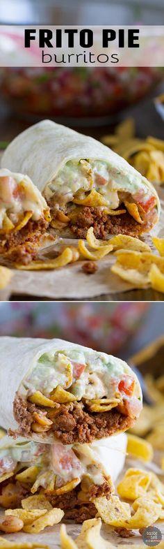 Frito Pie Burrito - Filled with chili, green chile queso, pico de gallo, avocado cream and jalapenos, all wrapped up in a tortilla.