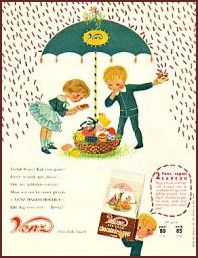 """Het hagelt, het hagelt, grote korrels Venz, zo gezond en lekker... Venz, Venz, Venz!"""" Wie herkent dit liedje niet? Op de tv-reclame zag je dat een jongen en een meisje, compleet met regenpak en kap..."""